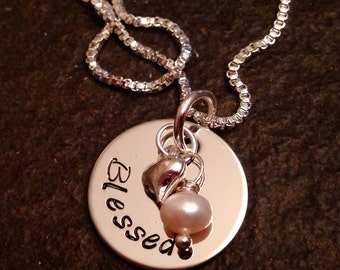 "Hand stamped ""blessed"" necklace personalized necklace with pearl or crystal and heart charm"