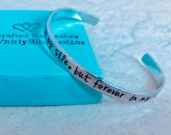 Personalized bracelet no longer by my side but forever in my heart pet loss child loss parent loss remembrance jewelry monogrammed personal
