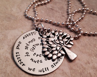 Sister and sister personalized hand stamped necklace with family tree charm