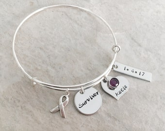 Personalized bangle bracelet cancer survivor bracelet jewelry battling cancer breast cancer survivor personalized jewelry with hope ribbon