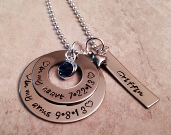 Personalized adoption necklace hand stamped new baby
