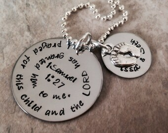 1 Samuel 1:27 Hand Stamped Personalzied Necklace  For this child I have prayed new mom pregnancy monogrammed gift