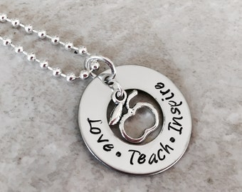 Love teach inspire teachers necklace apple charm teacher appreciation