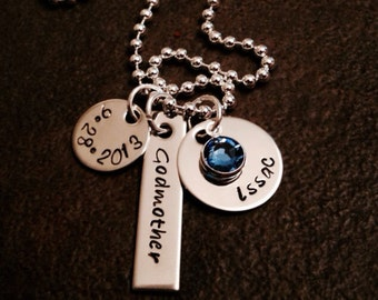 Hand stamped personalized necklace with name birthstone and date mom mother grandma grandmother