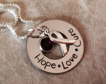 Epilepsy awareness Breast Cancer awareness necklace hope love cure personalized neclace with hope ribbon purple pink
