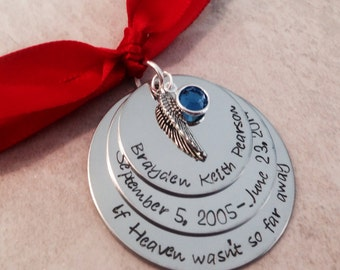 SALE If Heaven wasn't so far away christmas ornament personalized christmas ornament memorial remembrance always in our heart angel wing
