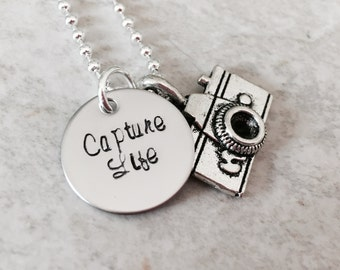 Capture life hand stamped necklace with camera charm photography photographer necklace jewelry personalized photography engraved monogrammed
