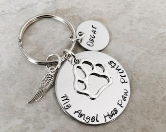 My Angel Has Paw Prints keychain