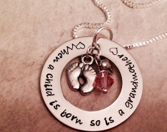 When a child is born so is a mother mom grandma personalized necklace hand stamped jewelry