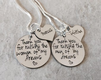 Thank you for raising the man of my dreams I'll take care of her always personalized necklace set mother in law MIL wedding necklace get
