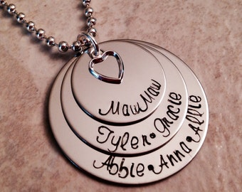 Personalized mother grandmother necklace with children names hand stamped