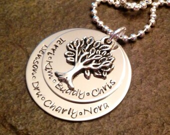Hand stamped personalized necklace family tree necklace mom grandma Nannie grandmother mother in law