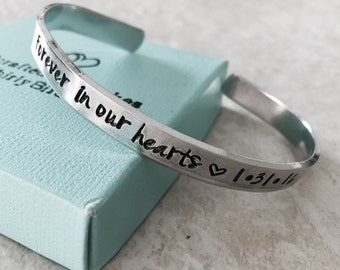Sale forever in our hearts personalized cuff bracelet remembrance jewelry pregnancy loss monogrammed hand stamped custom jewelry in my heart