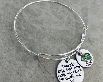 Personalized mothers bracelet there's this boy who stole my heart he calls me mom kids stole my heart mother's day gift mother's jewelry