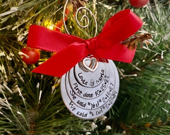 Custom first christmas ornament first date she said yes engagement wedding date ornament personalized with couples names wedding gift sale