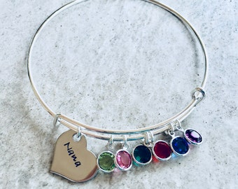 Personalized Bangle Bracelet Gift for mom gift for grandma mom bracelet with birthstone crystals name charm monogrammed mothers day gift