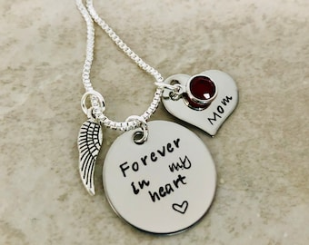 Personalized necklace forever in my heart forever in our hearts remembrance necklace loss of parent loss of child loss of pet memorial piece