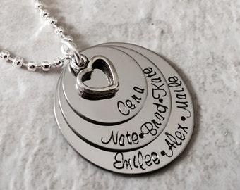 Hand stamped personalized necklace for mom grandma nana grandmother etc personalize with favorite quote