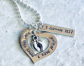 For this child I have prayed personalized necklace 1 Samuel 1:27 custom jewelry for mom mother's Day gift new mom gift bible verse jewelry