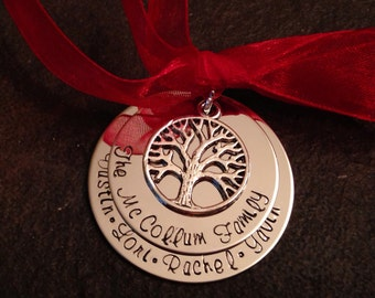 SALE!!!  Personalized family christmas ornament with tree of life charm