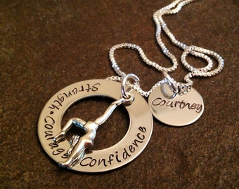 Personalized gymnastics necklace gymnast hand stamped