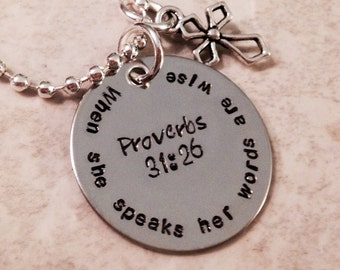 When she speaks her words are wise Proverbs 31:26 bible verse necklace personalized teacher necklace encouragement she believed she could
