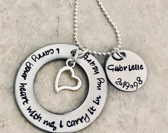 I carry your heart with me I carry it in my heart hand stamped necklace jewelry memorial jewelry loss of parent loss of child loss of pet