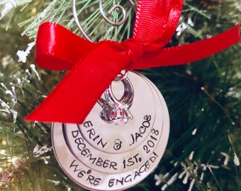 Personalized engagement ornament we're engaged Christmas ornament with names and engagement date engagement gift wedding gift monogrammed