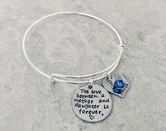 The love between a mother and daughter is forever custom bracelet with daughters name and birthstone Mother's Day jewelry