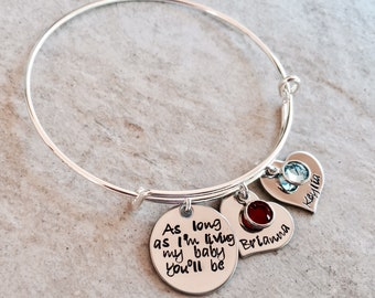 Personalized bracelet mother's bracelet as long as I'm living m baby you'll be custom mother's jewelry mother's day gift for mom monogrammed