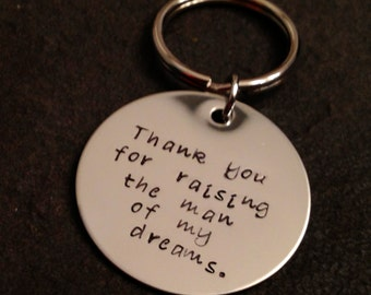 Personalized mother in law father in law keychain thank you for raising the man of my dreams