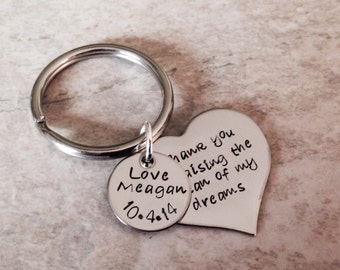 Thank you for raising the man of my dreams woman of my dreams mother in law gift hand stamped personalized keychain necklace