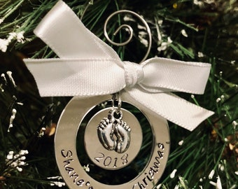 Personalized first Christmas ornament baby's first Christmas ornament new parents new baby birthday Christmas decoration baby feet charm