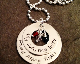 Personalized necklace military my son my hero sailor navy army coast guard deployment marine corps hand stamped necklace with crystals