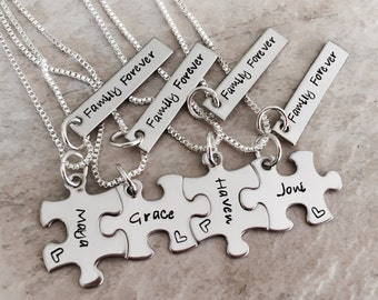 Set of personalized puzzle piece necklaces personalized necklace set family sisters bridesmaids wedding favors forever family monogrammed