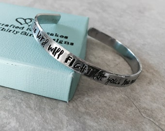 SALE the Lord will FIGHT for you you need only Be Still Exodus 14:14 hand stamped cuff bracelet with custom wording strength encouragement