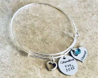 Personalized grandma bracelet for grandma monogrammed bracelet with child's name bracelet for mom gift for mom new mom new grandma sale