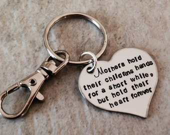 Personalized mothers keychain mothers hold their children's hands for a little while but their heart forever mom keychain mothers day gift