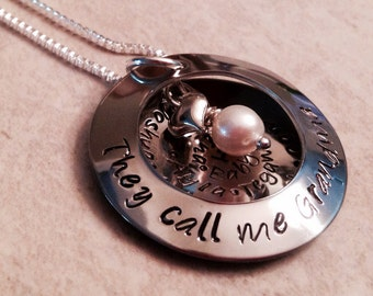 Hand stamped personalized necklace they call me grandma with kid names