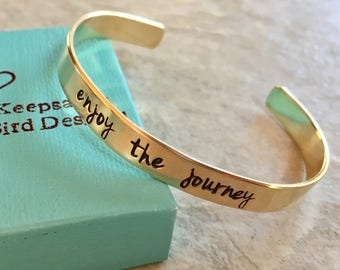 SALE Enjoy the journey cuff bracelet personalized cuff bracelet custom jewelry gold bracelet graduation gift high school graduation class of