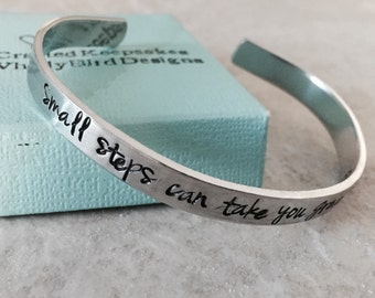 Small steps can take you great distances hand stamped personalized cuff bracelet achievement congratulations marathon runner 5k 8k 26.2