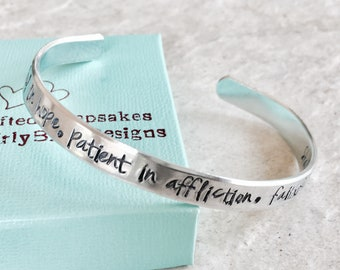 Personalized bracelet Romans 12:12 Be joyful in hope patient in affliction persistent in prayer custom cuff bracelet monogrammed jewelry