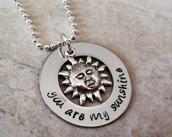 You are my sunshine necklace personalized mother daughter best friend custom hand stamped jewelry