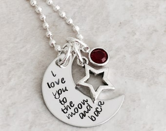 I love you to the moon and back necklace with birthstone crystals mother necklace personalized necklace hand stamped necklace mother mom
