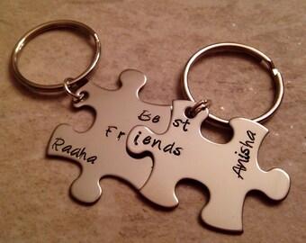 Hand stamped personalized best friend keychains