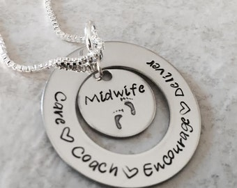Hand stamped personalized midwife necklace doula baby pregnancy