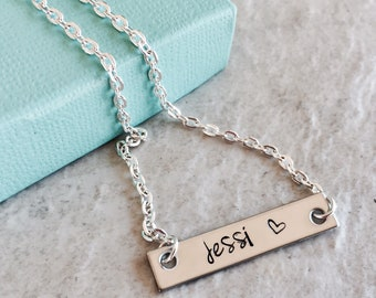 Personalized bar charm necklace name necklace monogrammed necklace personalized jewelry custom jewelry gift for daughter gift for mom sale