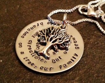 Hand stamped personalized necklace sister family mom mother in law