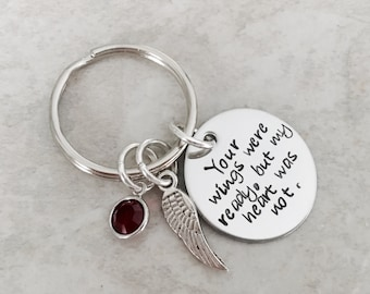 Your wings were ready but my heart was not custom keychain remembrance loss sympathy gift loss of a child loss of a parent jewelry keychain