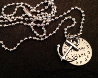 Navy Wife necklace Hurry up and wait with anchor charm personaliztion available